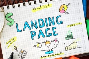 Landing page written in a notebook. SEO concept. - Big Easy SEO